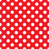 White Polka Dots on Red Background Seamless Stock Photos