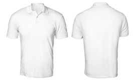 White Polo Shirt Mock up. Blank polo shirt mock up template, front and back view, isolated on white, plain t-shirt mockup. Polo tee design presentation for print Royalty Free Stock Image