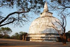 White Polonnaruwa Stupa Sri Lanka.  Royalty Free Stock Photo