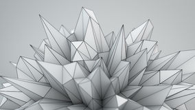 White polygonal shape in studio 3D render. White polygonal shape in studio. Abstract Sci-fi technology 3D render illustration royalty free illustration