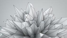White polygonal shape in studio 3D render. White polygonal shape in studio. Abstract Sci-fi technology 3D render illustration Royalty Free Stock Images