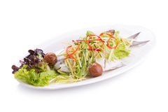 White Pomfret steam fish, chinese food Royalty Free Stock Photos