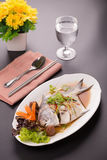 White Pomfret steam fish, chinese food Stock Photography