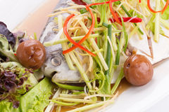 White Pomfret steam fish, chinese food Stock Image