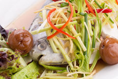 White Pomfret steam fish, chinese food Royalty Free Stock Images