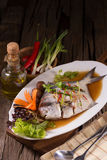White Pomfret steam fish, chinese food Stock Images