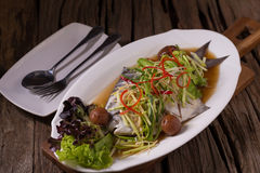 White Pomfret steam fish, chinese food Royalty Free Stock Photo