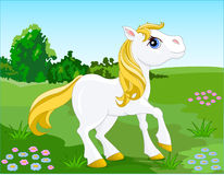 White_pony. Beautiful White Horse. Vector illustration Stock Images