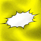 White pop art style explosion over yellow dotted background Royalty Free Stock Photos