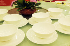 White porcelain  bowls on table Stock Photo