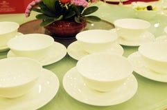 White porcelain  bowls on table Stock Photo