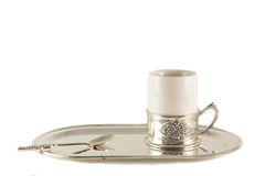 White porcelain coffee Cup with silver spoon on tray Royalty Free Stock Photography