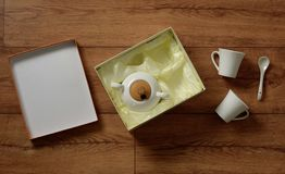 White porcelain coffee set - italian product. Closeup royalty free stock images