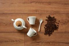White porcelain coffee set - italian product. Closeup royalty free stock photos
