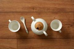 White porcelain coffee set - italian product. Closeup stock photo