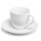 White porcelain cup. On a white background Royalty Free Stock Image