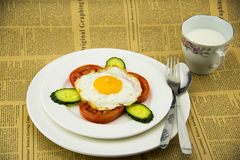 White porcelain dish, delicious breakfast and knif Stock Images