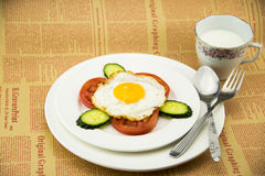 White porcelain dish, delicious breakfast and knif Stock Photography