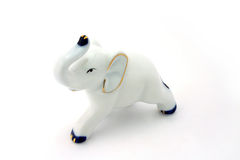 White porcelain elephant. Isolated porcelain elephant Stock Images