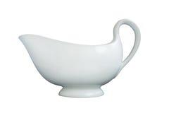 White porcelain milk jug. Light porcelain milk jug isolated on white background Royalty Free Stock Photography