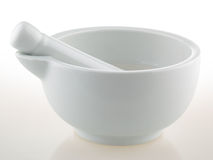 White porcelain mortar and pestle set Stock Photo