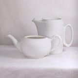 White porcelain pots Stock Images