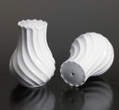 White porcelain salt and pepper shaker Royalty Free Stock Photography
