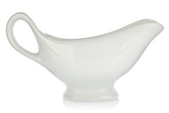 White porcelain sauceboat for sauce or cream Stock Image