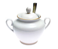 White porcelain sugar bowl isolated Stock Photography