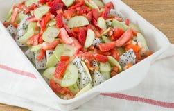 White Porcelain Tray with Refreshing Fruits Salad Stock Image