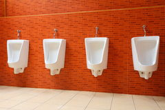 White porcelain urinals Stock Images
