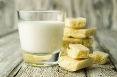 White porous chocolate and a glass of milk Stock Image