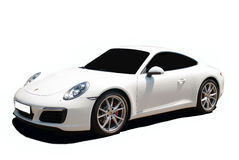 White Porsche Carrera 911 a transparent background Royalty Free Stock Photo