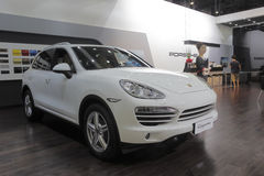 White porsche cayenne suv Stock Photography