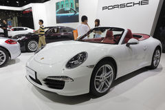 White porsche cayman car Stock Photos