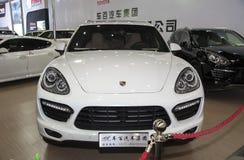 White porsche coupe car Royalty Free Stock Image