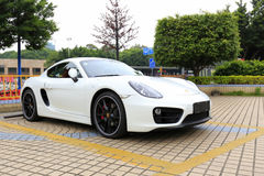 White porsche at parking lot, guangzhou city, china Royalty Free Stock Images