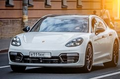 White Porsche. Russia, Saint-Petersburg. September 02. 2017. Stock Photography