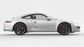 White Porsche 911 three-dimensional raster illustration on a white background. 3d rendering. White Porsche 911 three-dimensional raster illustration on a white stock illustration