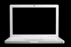 White portable computer. Isolated on black Royalty Free Stock Image