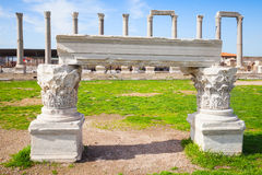 White portico fragment and columns, Smyrna Stock Photography
