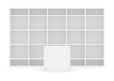 White POS POI cylinder with shelves as backdrop stock illustration