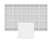 White POS POI cylinder with shelves as backdrop Stock Images