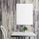 White poster above coffee table, wooden background. 3d illustration Royalty Free Stock Photography