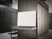 White poster on a bench in locker room. 3d rendering Stock Image