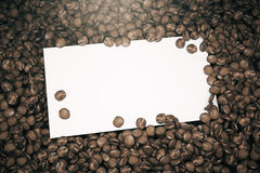 White poster on brown coffee beans Stock Photo