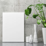 White poster on concrete wall, minimalism decor with plant. 3d illustration Royalty Free Stock Photo