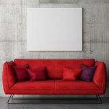 White poster on concrete wall, red sofa stock illustration