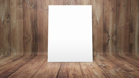 White poster on curved wooden background Stock Photo