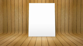 White poster on curved wooden background Stock Photography